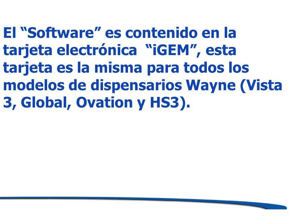 El Software es contenido en la tarjeta electrónica iGEM , esta tarjeta es la misma para todos los modelos de dispensarios Wayne (Vista 3, Global, Ovation y HS3).