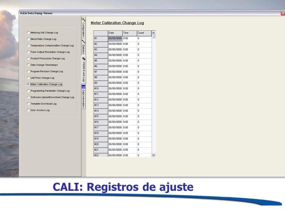 CALI: Registros de ajuste