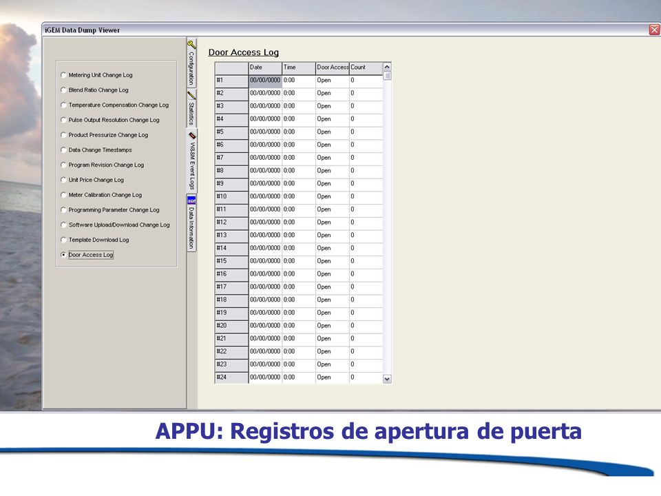 APPU: Registros de apertura de puerta