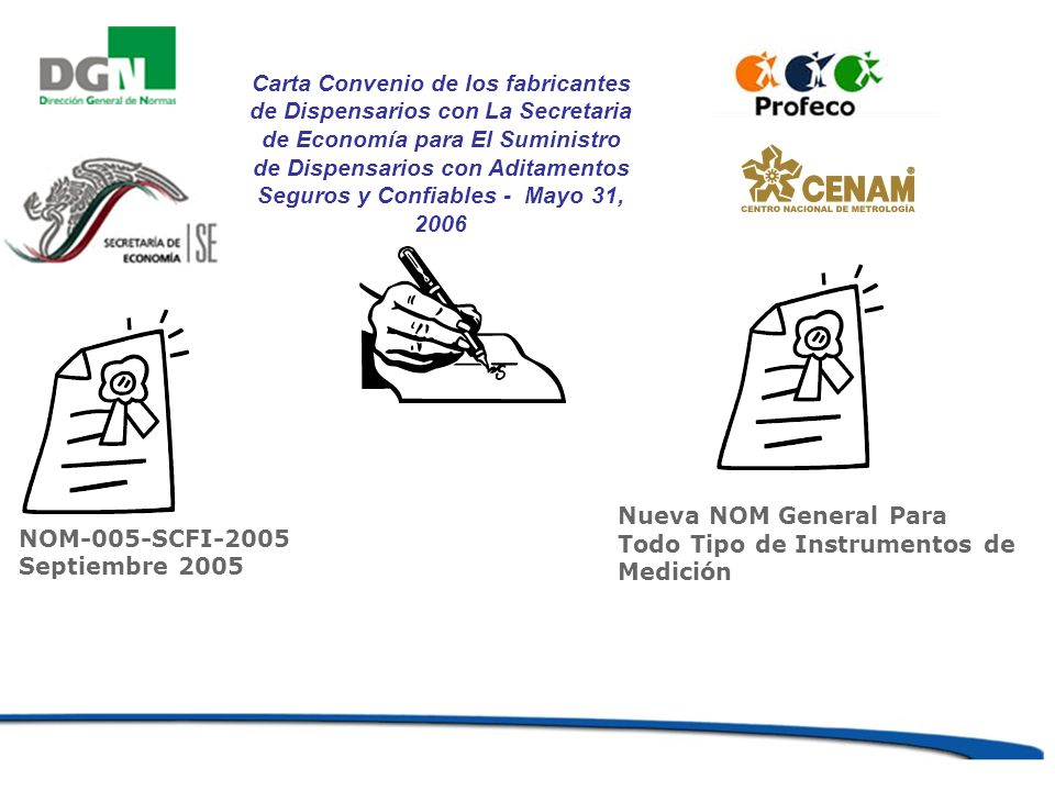 Carta Convenio de los fabricantes de Dispensarios con La Secretaria de Economía para El Suministro de Dispensarios con Aditamentos Seguros y Confiables - Mayo 31, 2006