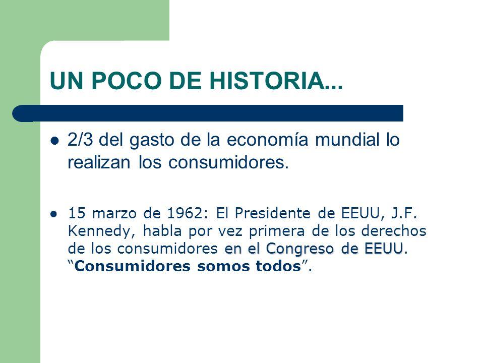 UN POCO DE HISTORIA... 2/3 del gasto de la economía mundial lo realizan los consumidores.