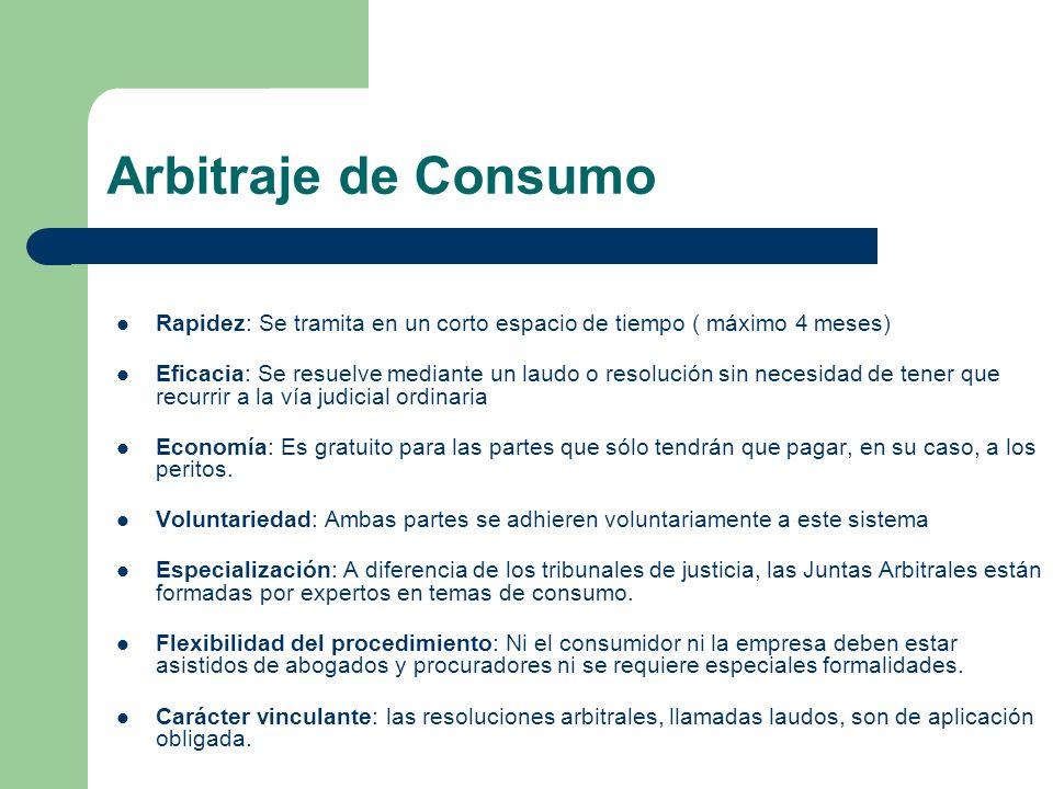 Arbitraje de Consumo Rapidez: Se tramita en un corto espacio de tiempo ( máximo 4 meses)