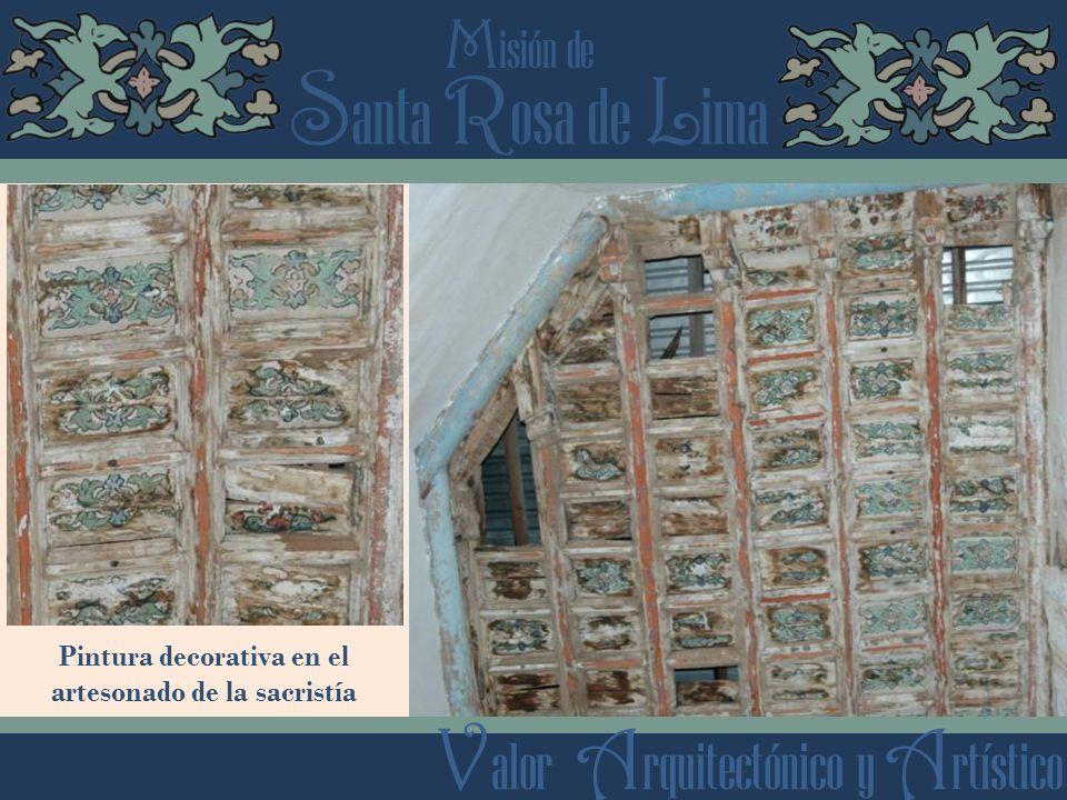 Pintura decorativa en el artesonado de la sacristía