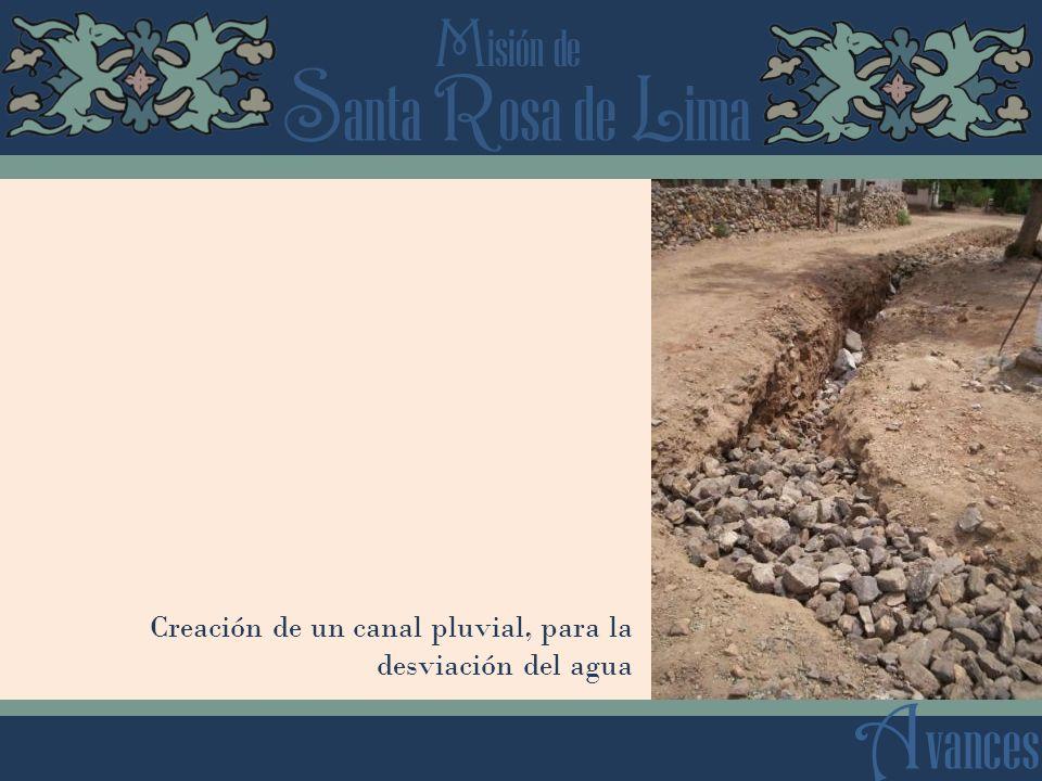 Creación de un canal pluvial, para la desviación del agua