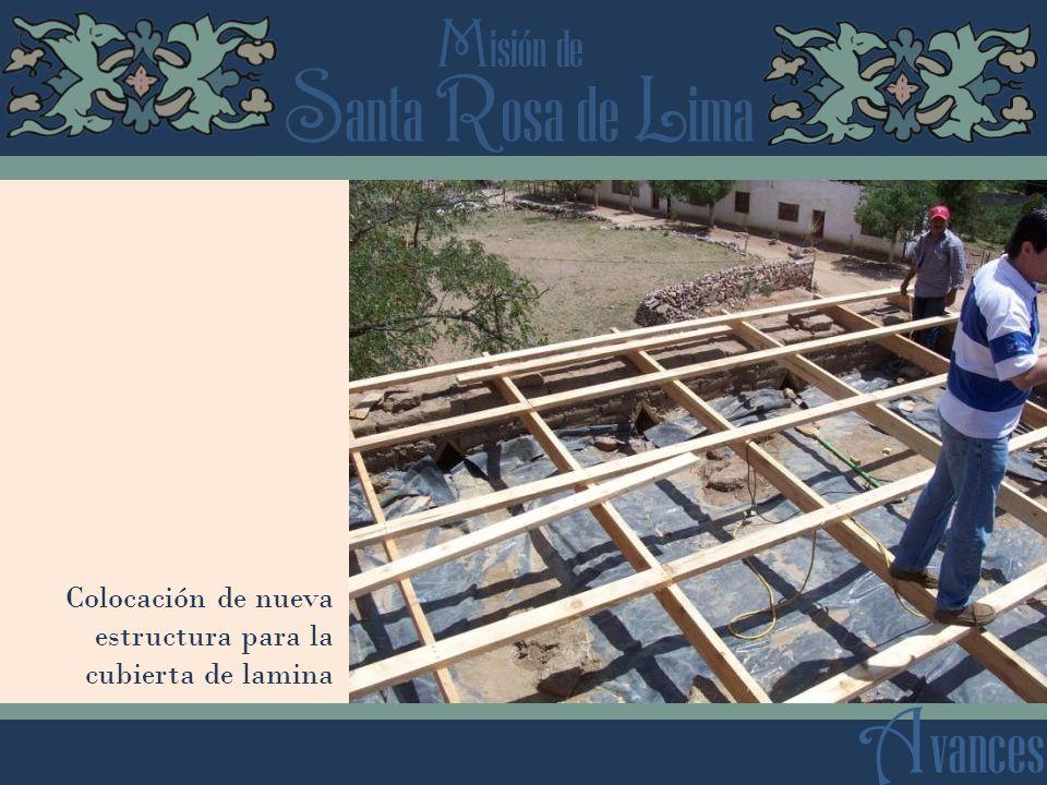 Colocación de nueva estructura para la cubierta de lamina