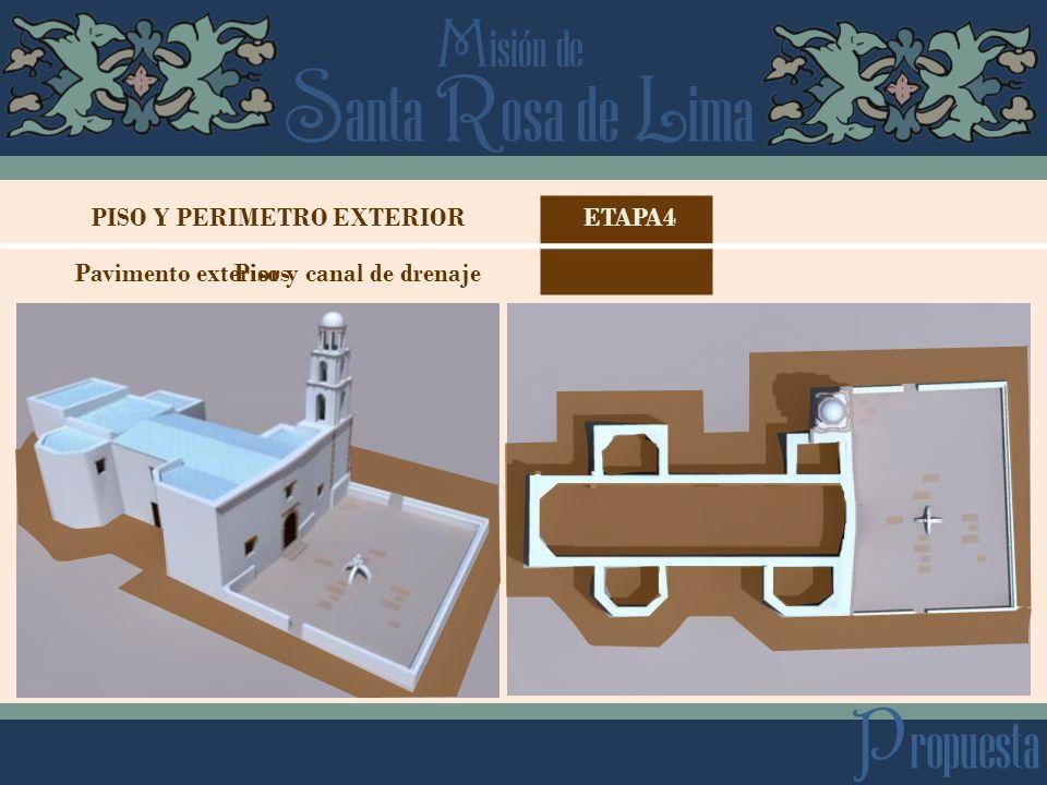 PISO Y PERIMETRO EXTERIOR Pavimento exterior y canal de drenaje