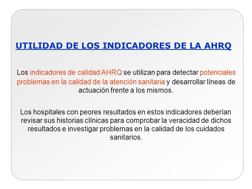 UTILIDAD DE LOS INDICADORES DE LA AHRQ