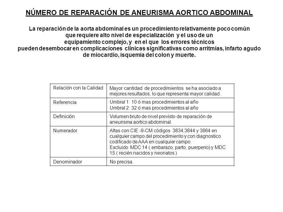 NÚMERO DE REPARACIÓN DE ANEURISMA AORTICO ABDOMINAL