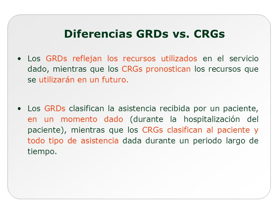 Diferencias GRDs vs. CRGs
