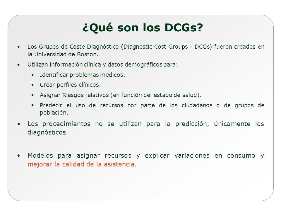 ¿Qué son los DCGs Los Grupos de Coste Diagnóstico (Diagnostic Cost Groups - DCGs) fueron creados en la Universidad de Boston.