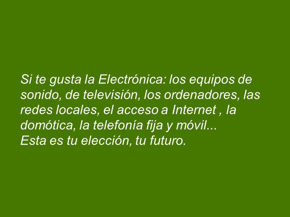 Si te gusta la Electrónica: los equipos de sonido, de televisión, los ordenadores, las redes locales, el acceso a Internet , la domótica, la telefonía fija y móvil...