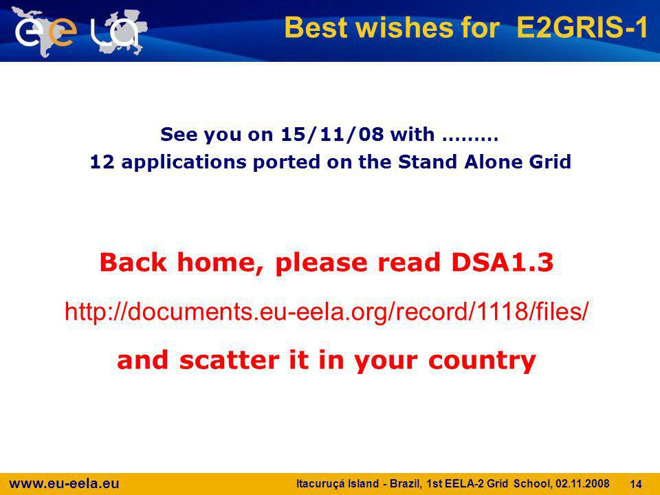 Best wishes for E2GRIS-1 Back home, please read DSA1.3