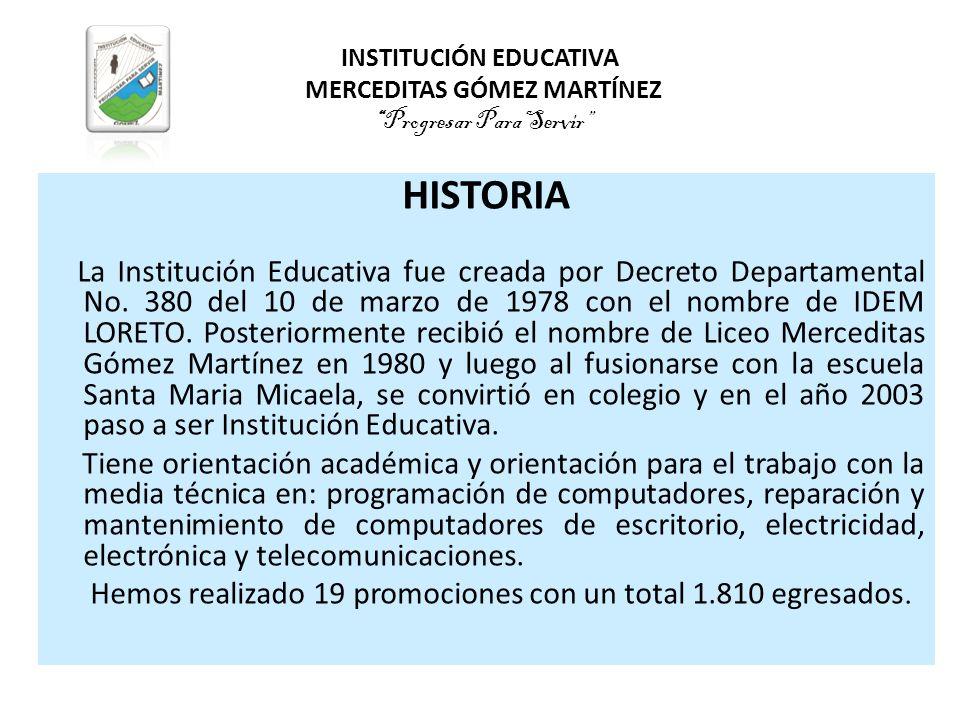 INSTITUCIÓN EDUCATIVA MERCEDITAS GÓMEZ MARTÍNEZ Progresar Para Servir
