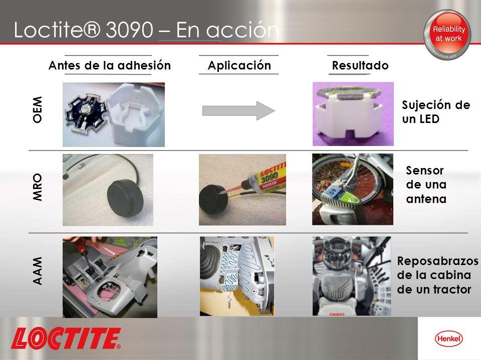 Loctite® 3090 – En acción Antes de la adhesión Aplicación Resultado