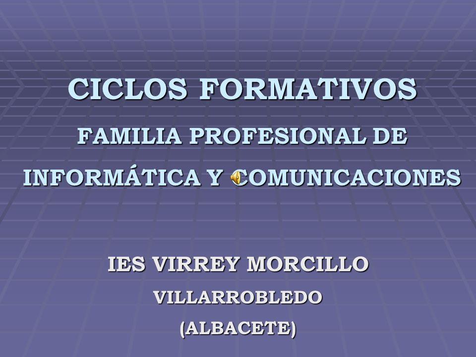 CICLOS FORMATIVOS FAMILIA PROFESIONAL DE INFORMÁTICA Y COMUNICACIONES