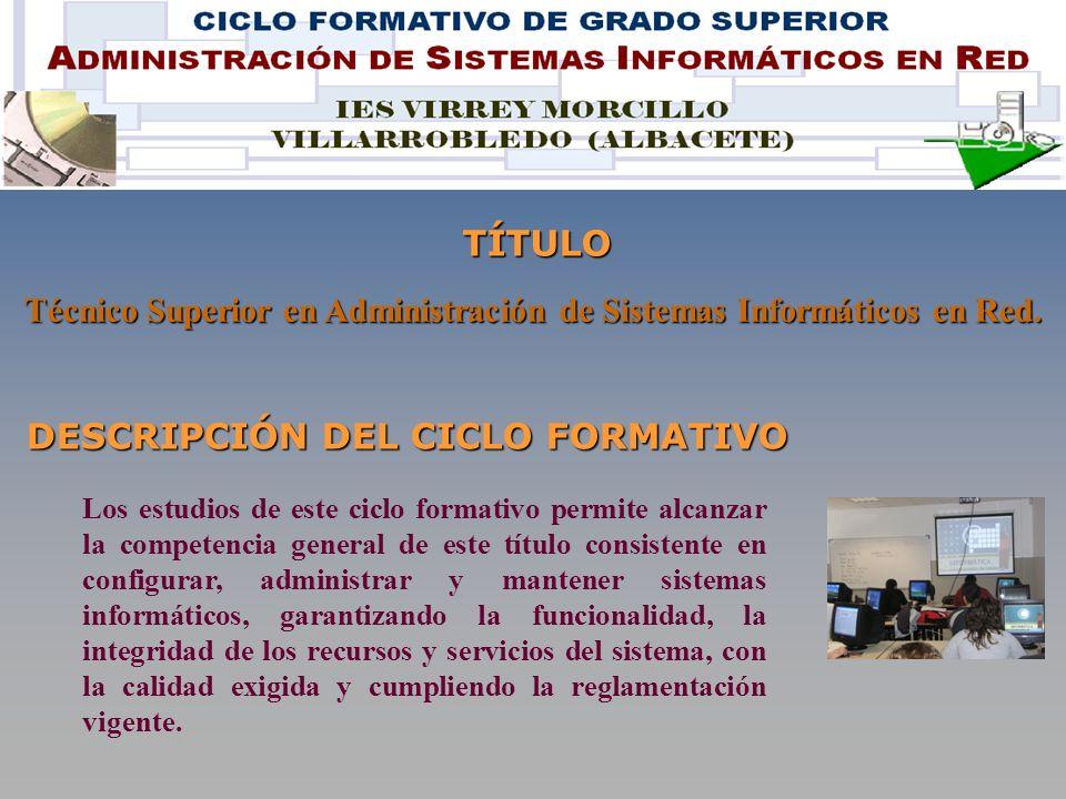 DESCRIPCIÓN DEL CICLO FORMATIVO