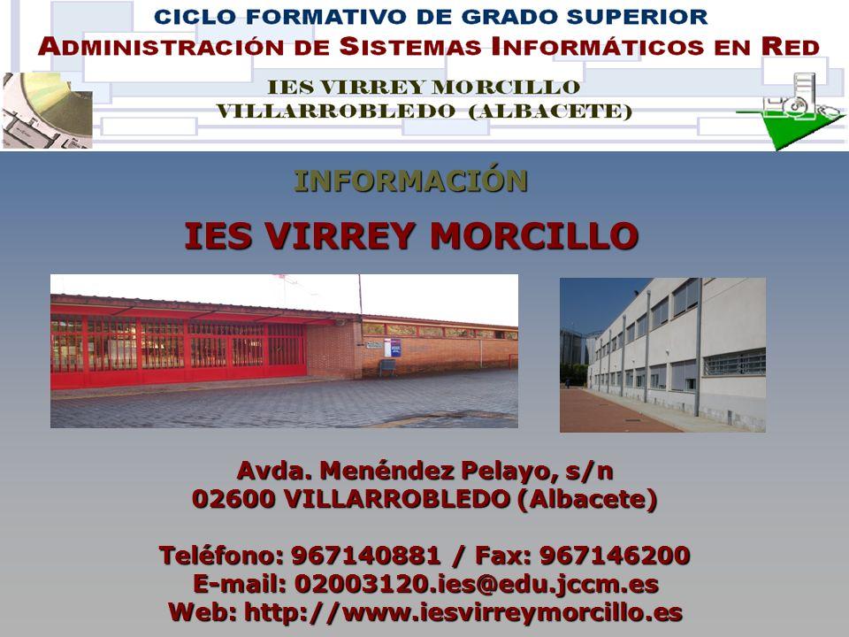 IES VIRREY MORCILLO INFORMACIÓN Avda. Menéndez Pelayo, s/n