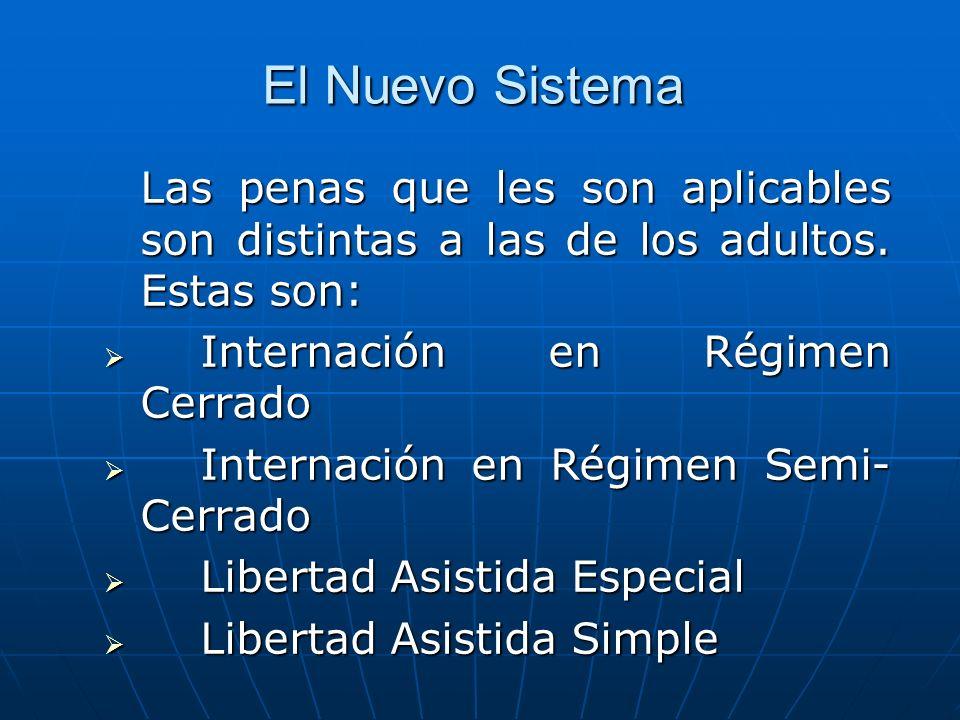 El Nuevo Sistema Las penas que les son aplicables son distintas a las de los adultos. Estas son: Internación en Régimen Cerrado.
