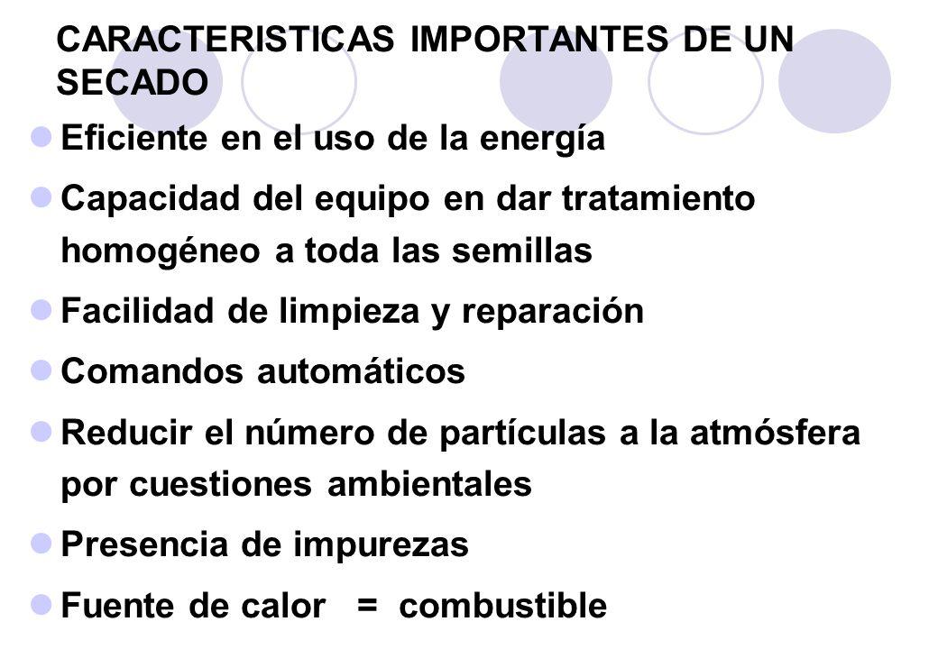 CARACTERISTICAS IMPORTANTES DE UN SECADO