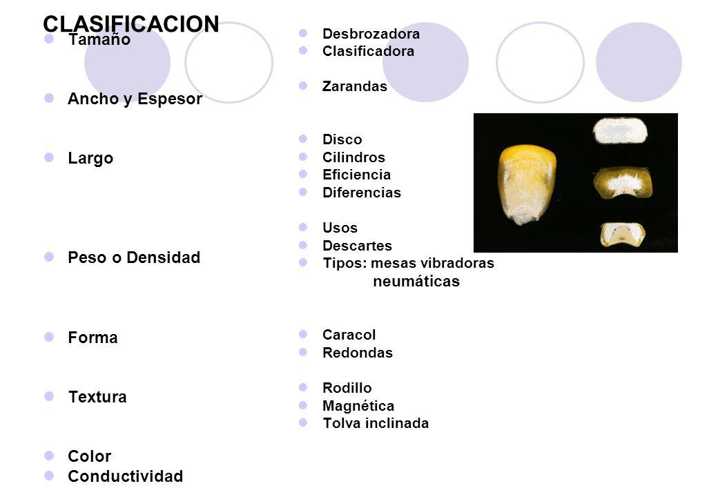 CLASIFICACION Tamaño Ancho y Espesor Largo Peso o Densidad Forma