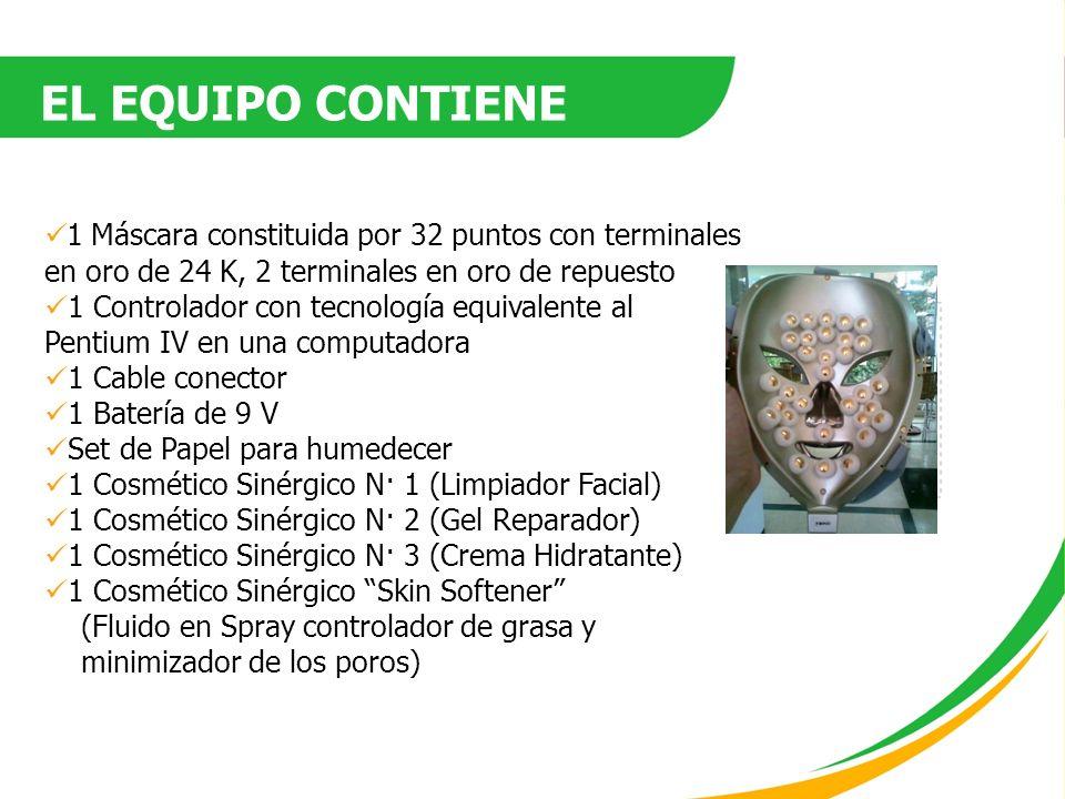 EL EQUIPO CONTIENE 1 Máscara constituida por 32 puntos con terminales en oro de 24 K, 2 terminales en oro de repuesto.