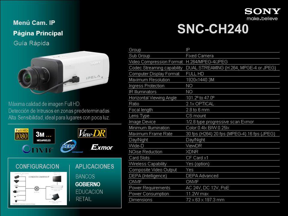 SNC-CH240 Exmor 3M … Menú Cam. IP Página Principal Guía Rápida