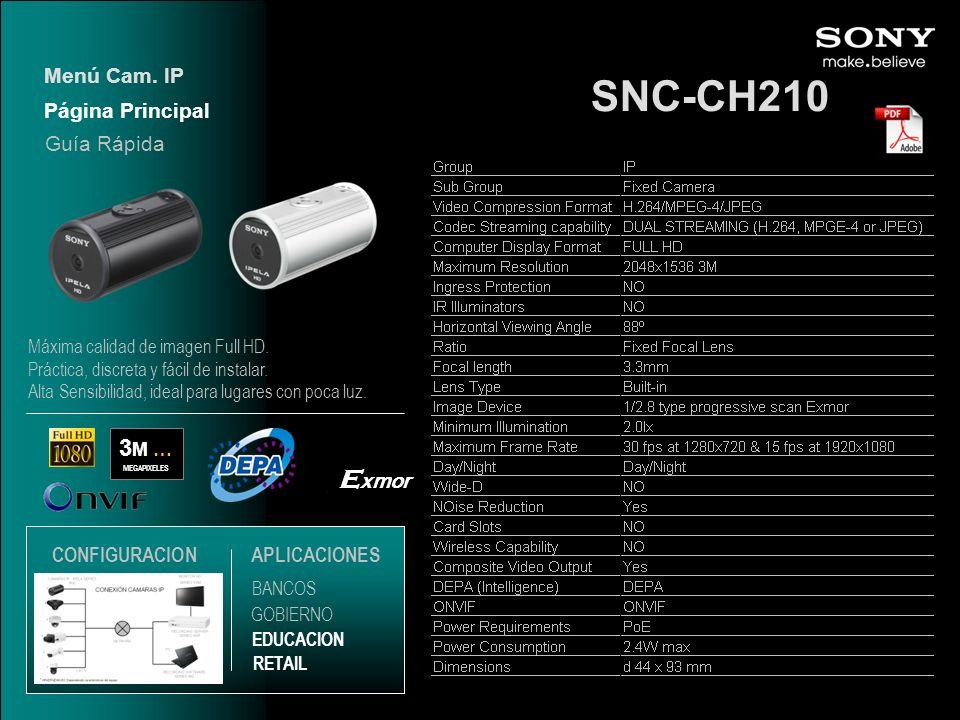 SNC-CH210 Exmor 3M … Menú Cam. IP Página Principal Guía Rápida