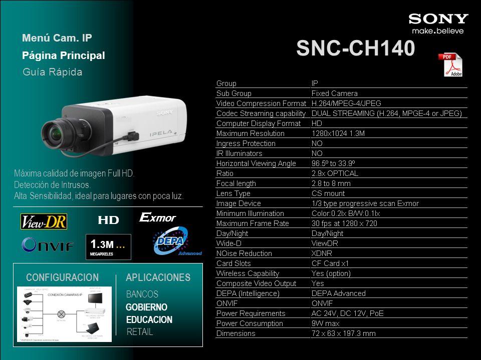 SNC-CH140 Exmor HD 1.3M … Menú Cam. IP Página Principal Guía Rápida