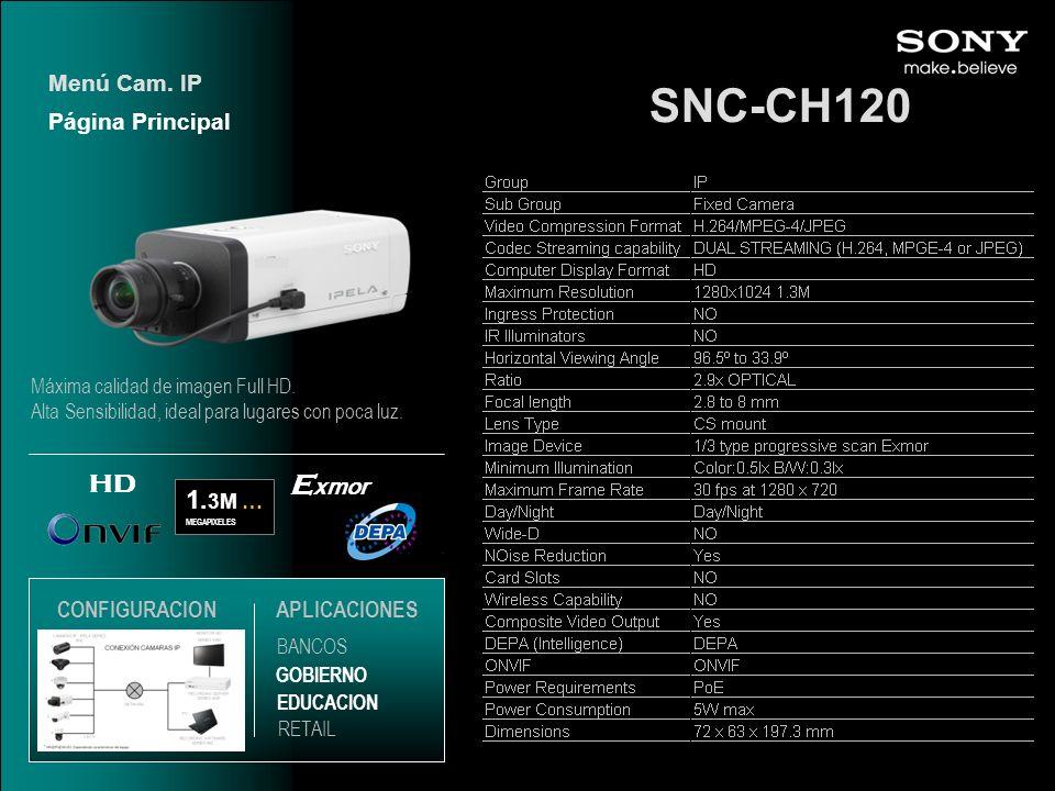 SNC-CH120 Exmor HD 1.3M … Menú Cam. IP Página Principal CONFIGURACION