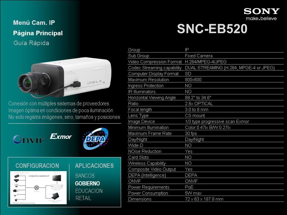 SNC-EB520 Exmor Menú Cam. IP Página Principal Guía Rápida