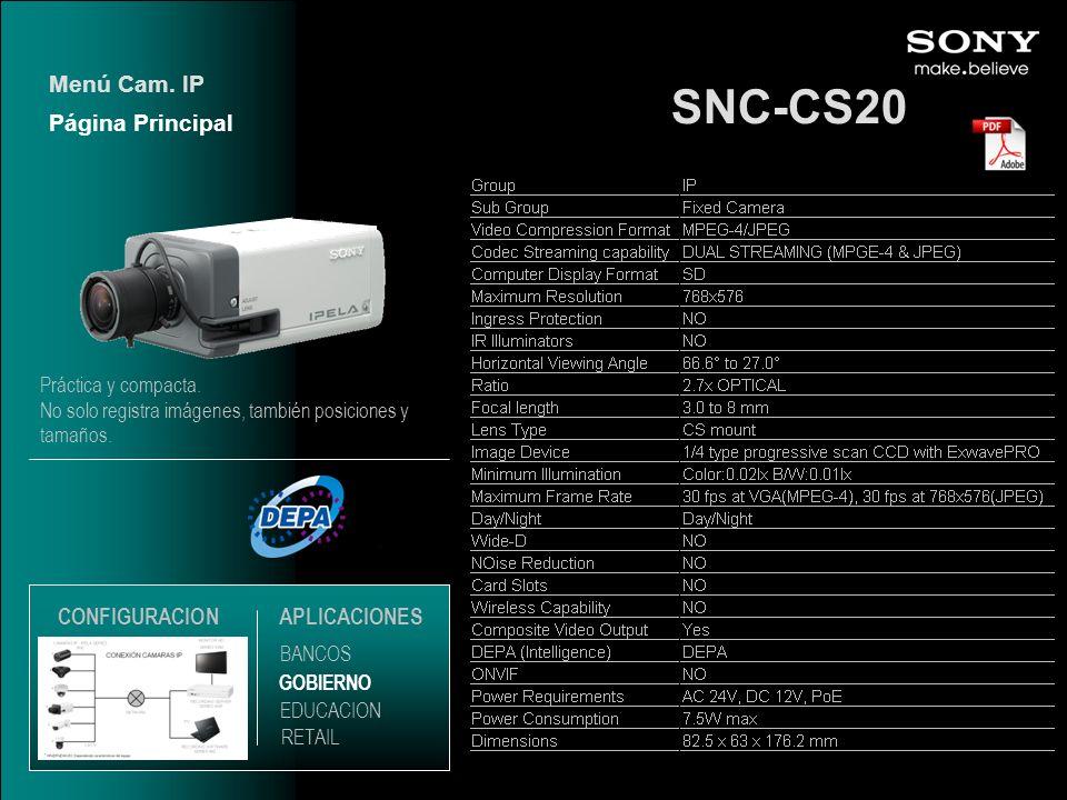 SNC-CS20 Menú Cam. IP Página Principal CONFIGURACION APLICACIONES