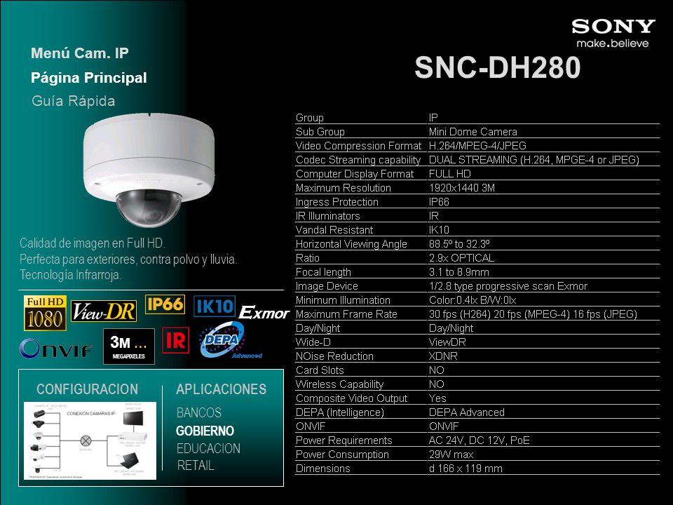 SNC-DH280 Exmor 3M … Menú Cam. IP Página Principal Guía Rápida