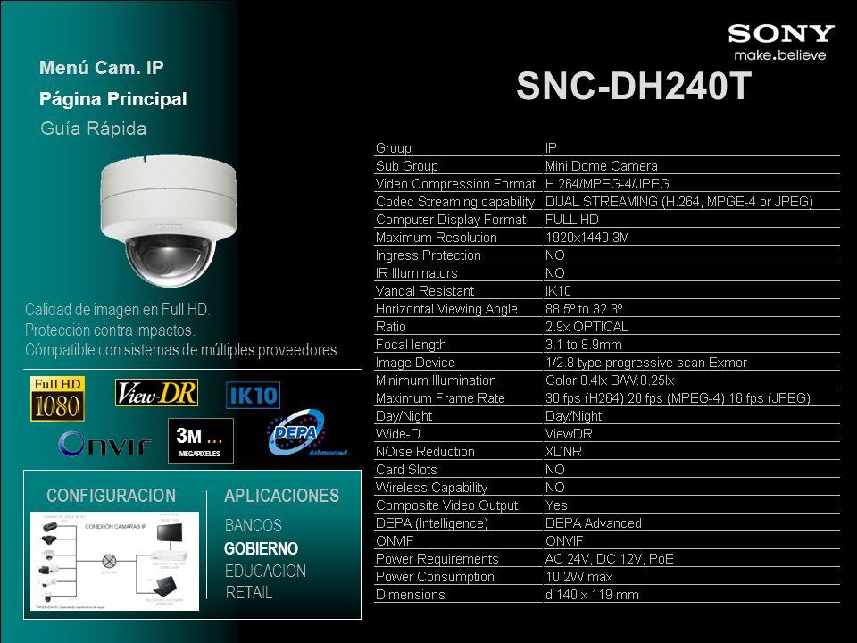 SNC-DH240T 3M … Menú Cam. IP Página Principal Guía Rápida