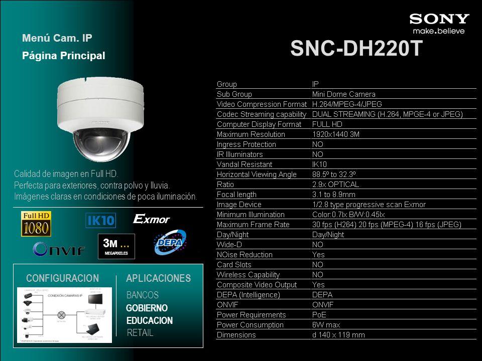 SNC-DH220T Exmor 3M … Menú Cam. IP Página Principal CONFIGURACION