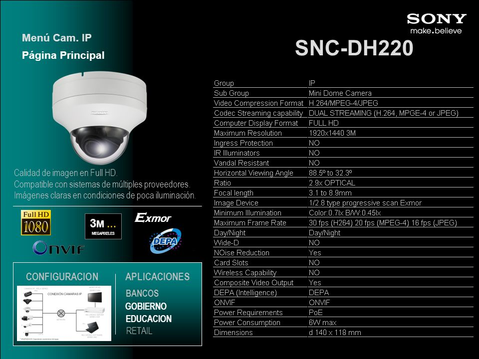 SNC-DH220 Exmor 3M … Menú Cam. IP Página Principal CONFIGURACION
