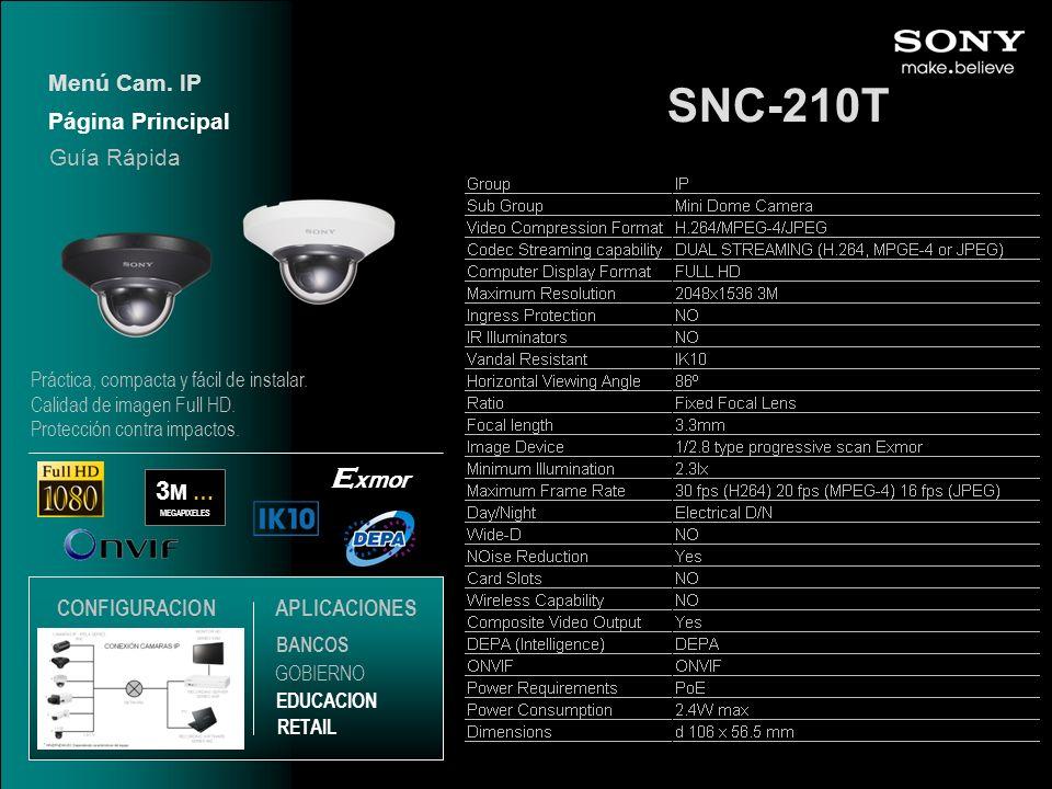 SNC-210T Exmor 3M … Menú Cam. IP Página Principal Guía Rápida