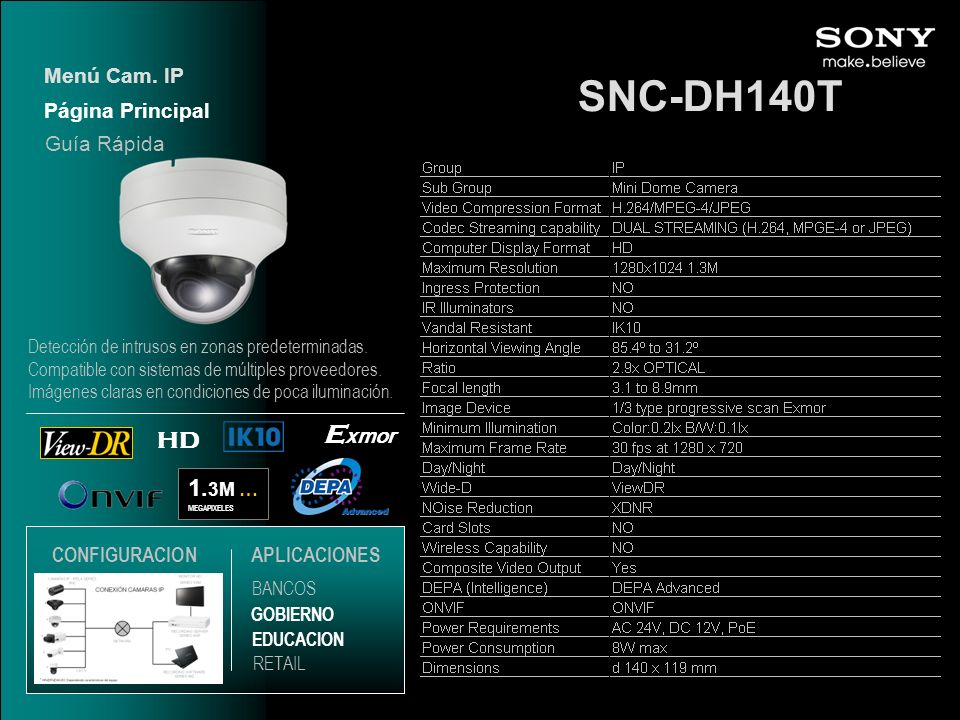 SNC-DH140T Exmor HD 1.3M … Menú Cam. IP Página Principal Guía Rápida