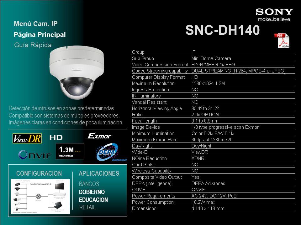 SNC-DH140 Exmor HD 1.3M … Menú Cam. IP Página Principal Guía Rápida