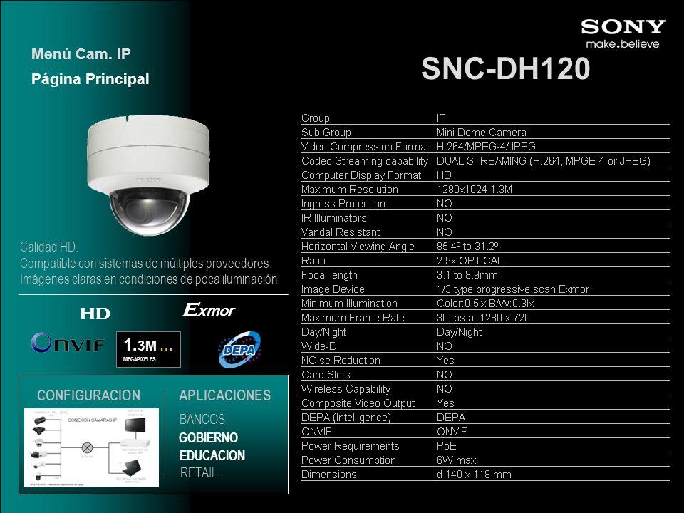 SNC-DH120 Exmor HD 1.3M … Menú Cam. IP Página Principal CONFIGURACION