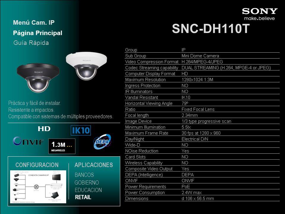 SNC-DH110T HD 1.3M … Menú Cam. IP Página Principal Guía Rápida