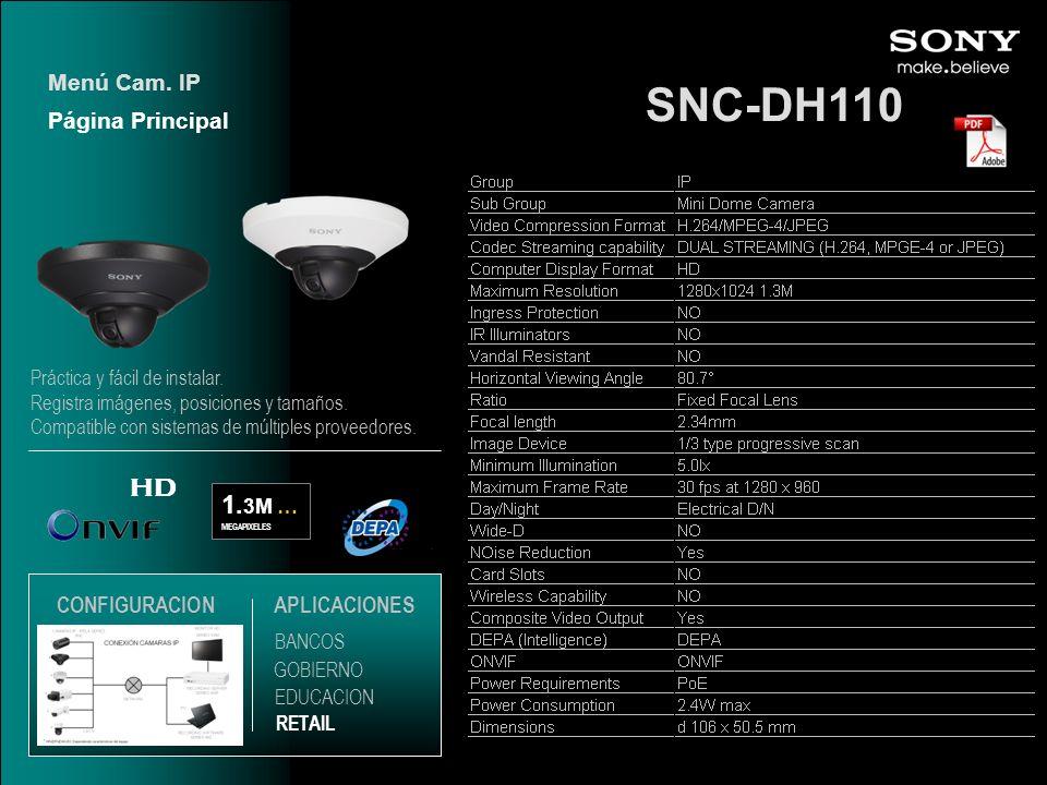 SNC-DH110 HD 1.3M … Menú Cam. IP Página Principal CONFIGURACION