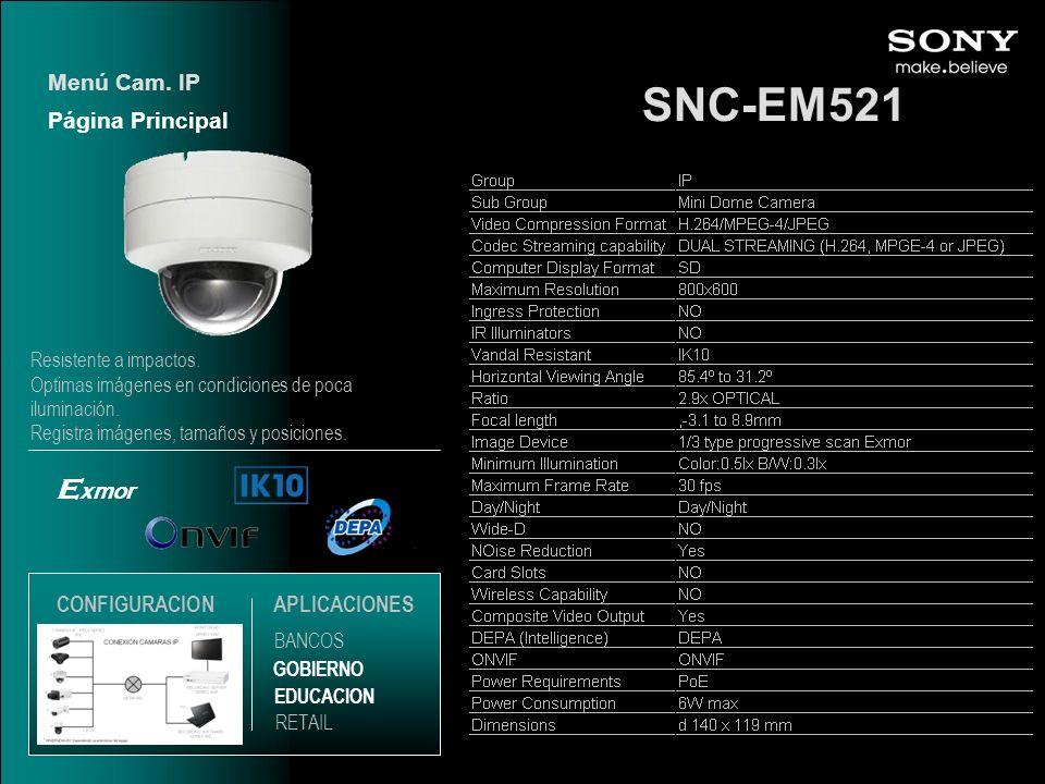 SNC-EM521 Exmor Menú Cam. IP Página Principal CONFIGURACION