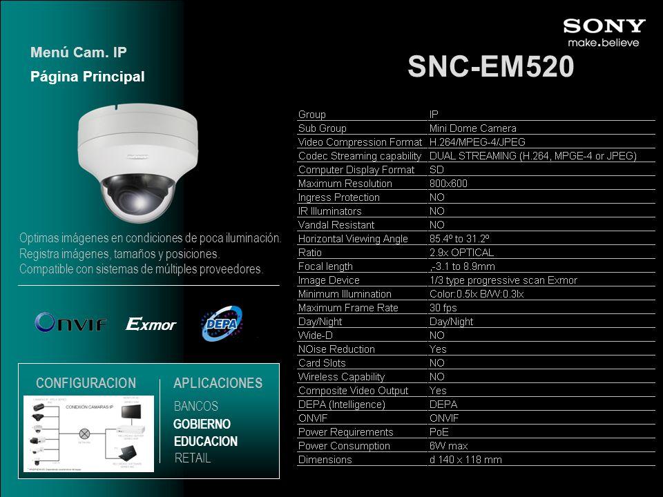 SNC-EM520 Exmor Menú Cam. IP Página Principal CONFIGURACION