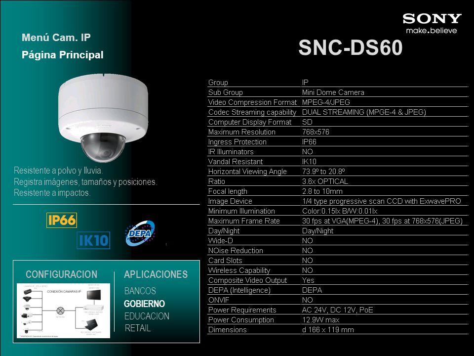 SNC-DS60 Menú Cam. IP Página Principal CONFIGURACION APLICACIONES
