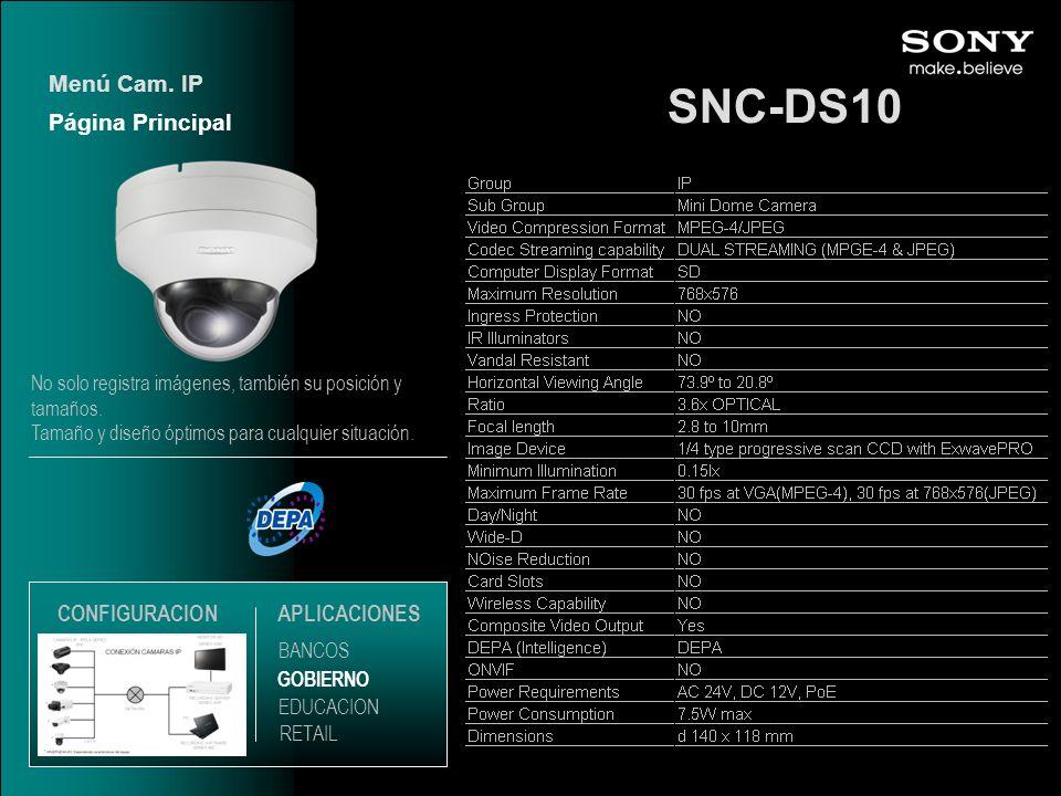 SNC-DS10 Menú Cam. IP Página Principal CONFIGURACION APLICACIONES