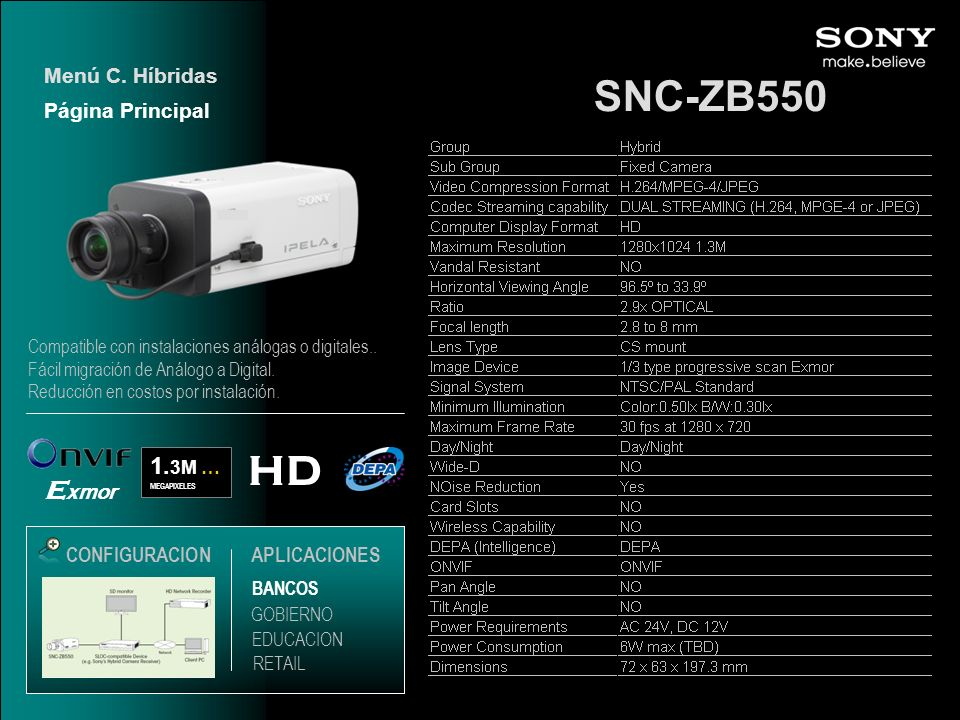 SNC-ZB550 HD Exmor 1.3M … Menú C. Híbridas Página Principal