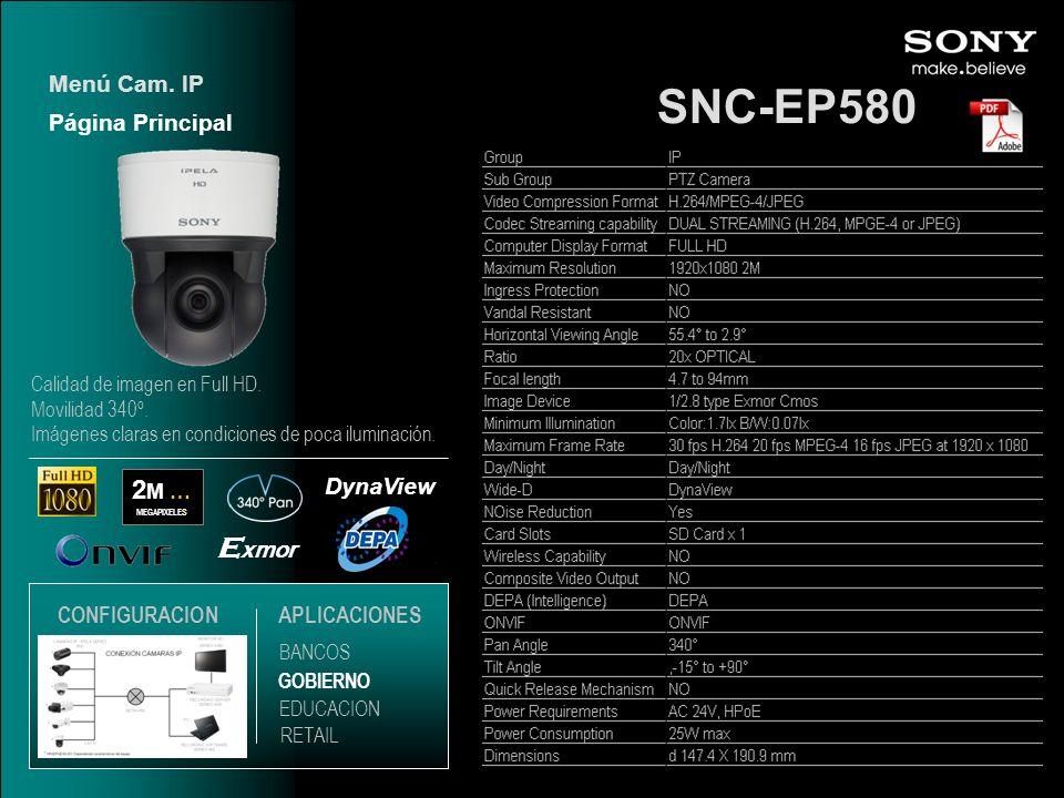 SNC-EP580 Exmor 2M … Menú Cam. IP Página Principal DynaView
