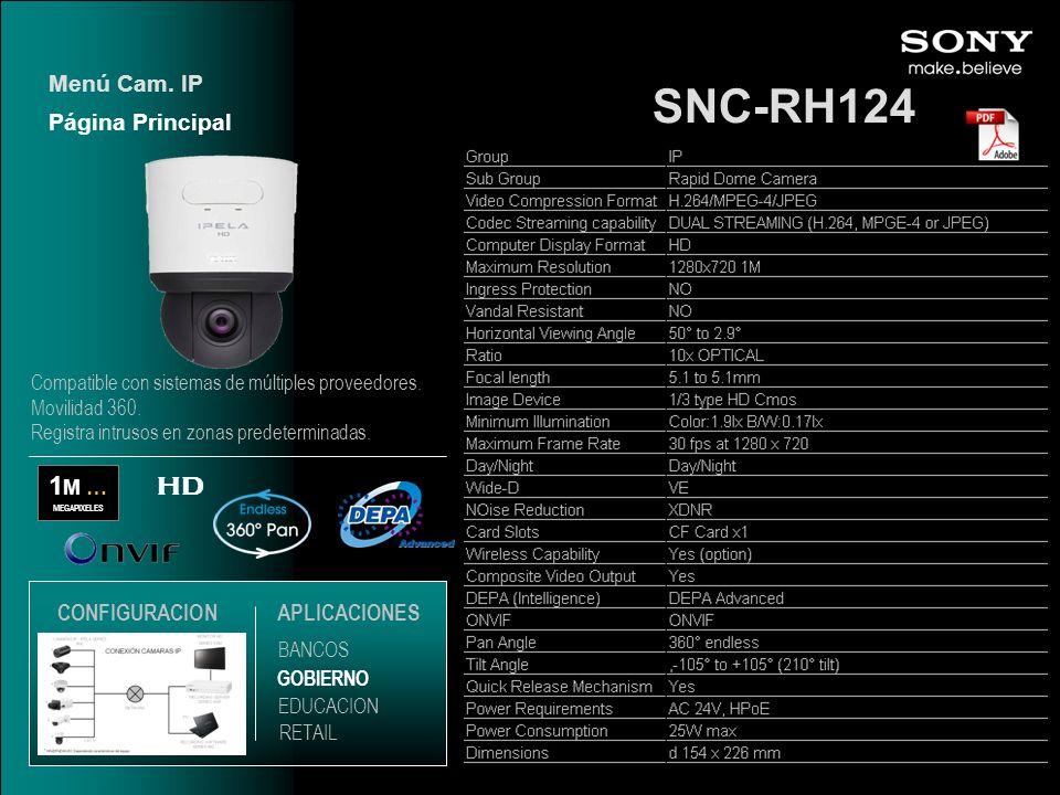 SNC-RH124 1M … HD Menú Cam. IP Página Principal CONFIGURACION