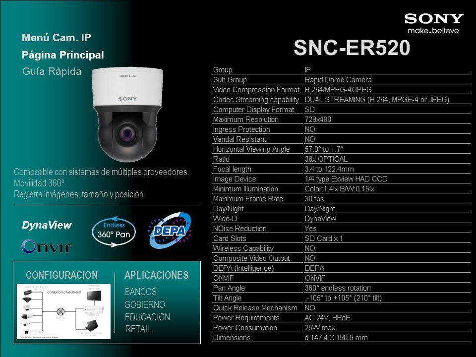 SNC-ER520 Menú Cam. IP Página Principal Guía Rápida DynaView