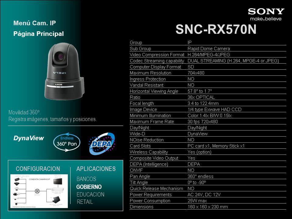 SNC-RX570N Menú Cam. IP Página Principal DynaView CONFIGURACION